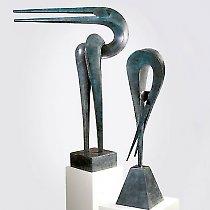 Élégance et Gymnase, sculpture contemporaine de Marion Bürkle, bronzes patiné
